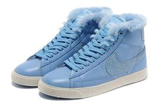 Cheap 375573 404 Nike Blazer MID leather fur blue women shoes