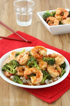 General Tso's Sweet Chili Shrimp with broccoli and rice is a quick, healthier alternative to Chinese takeout.