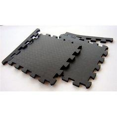 TNT Foam Black Waterproof Interlocking Gym Floor Mats (Case of 48)