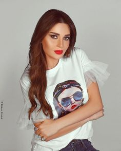 Cyrine Abdel nour in printed white t-shirt with ruffles .. perfect Makeup with red lipstick 💋|| 2020 outfit trends
