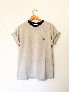 Vintage 1990s Tommy Hilfiger Gray Tshirt by FreshtoDeathVintage on Etsy