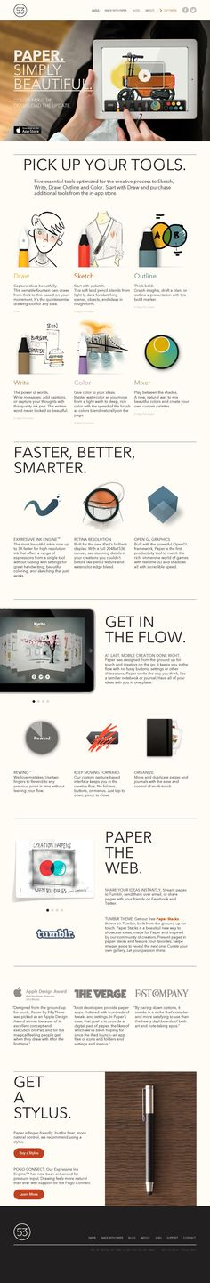 Paper by Fifty Three is an iPad app for drawing sketching and visualizing your ideas. Used by @Scott Brinker