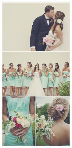 The bridesmaid dresses and flowers <3