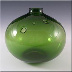 Holmegaard Michael Bang Green Glass Flower Vase - Signed - £39.99