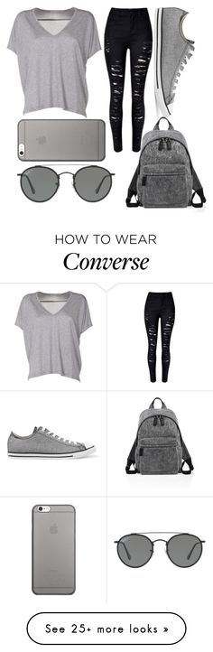 """""""Gray"""" by kaitlyn-ashby101 on Polyvore featuring Acne Studios, Converse, Marc Jacobs, Native Union and Ray-Ban"""