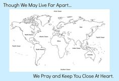 One Child Matters Map free download. You could print this out, color in your home country and the country or continent your sponsored child lives in then send it to them.