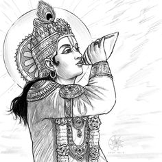 Digital sketch: Lord Krishna blowing His transcendental conch called Pāñcajanya on the battlefield of Kurukshetra. Digital Sketch: Krishna blowing His conch! Lord Krishna Sketch, Krishna Drawing, Krishna Painting, Madhubani Painting, Krishna Art, Shree Krishna, Radha Krishna Sketch, Radhe Krishna, Hanuman