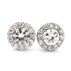 Sterling Silver & 10mm CZ Large Halo Stud Earrings