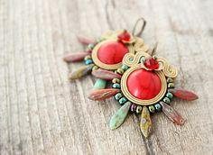 Red spike earrings red boho earrings spiky bohemian by pUkke