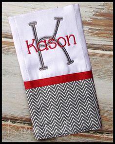 Grey Chevron & Red Monogram Burp Cloth