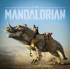 Mando & Baby Yoda riding a Mythosaur - Awesome Mandalorian by - - - Star Wars Fan Art, Star Trek, Sherlock Holmes, Mandalorian Cosplay, Cara Dune, Star Wars Design, Star Wars Images, Star Wars Wallpaper, Fanart