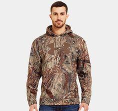 Men's Armour® Fleece Storm Big Logo Camo Hoodie Duckblind or Real Tree AP-Xtra