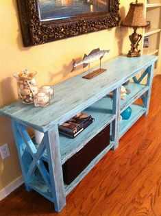 Rustic X Console - Gone Beachy! Great Finish!