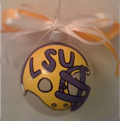 LSU painted ornament