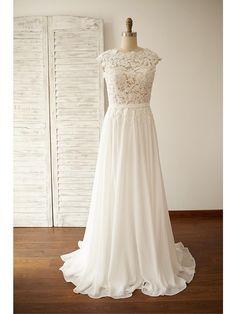 A-line Plus Sizes / Petite Wedding Dress - Chic & Modern Open Back / See-Through Wedding Dresses Sweep / Brush Train Jewel Chiffon / Lace - USD $119.99