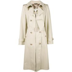 Maison Margiela cut-out lapel trench coat (€2.400) ❤ liked on Polyvore featuring outerwear, coats, beige, lapel coat, long pink coat, maison margiela, long trench coats and long coat
