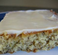 Banana Bars with Cream Cheese Frosting..i have a favorite recipe of these with sour cream in it but I can't resist pinnin banana cake!  :)