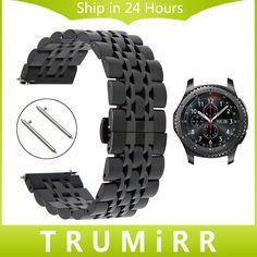 22ミリメートルのステンレス鋼時計バンド+クイックリリースピン用samsung gear s3クラシックフロンティア時計バンドリストストラップリンクブレスレット
