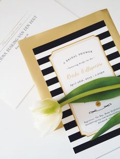 Designed them myself! Kate Spade Inspired Bridal Shower Invitations - classic black and white stripes with gold accents - created at Minted.com