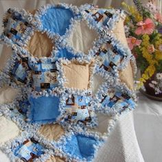 Blue and Brown Rag Quilt Dog