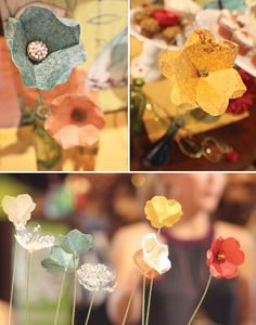How to make paper flowers for centerpiece decor . . . um, I need a bridal shower to plan so I can use these . . .