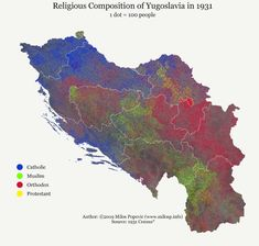 Religious composition of Yugoslavia, according to the 1931 census Military Post, Historical Maps, Project 3, World History, Countries Of The World, Composition, Catholic, Europe, Geography