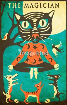 Cats in Art, Illustration, Photography, Design and Decorative Arts: Modern Tarot Card Cat artwork by Artist Jazzberry Blue