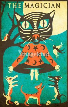 Modern Tarot Card Cat artwork by Artist Jazzberry Blue