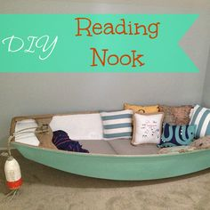 Repurposed Boat Into Reading Nook - This is my favorite DIY reading area for kids idea!! I love repurposing. To turn something useless into something useful and…