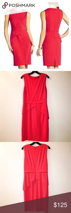 50% OFF! BCBGMAXAZRIA Classic Red Ida Sheath Dress Reasonable offers welcome. Same or next day shipping. Brand new with tags; retails at $248. Stunning, classic red dress from BCBG. Asymmetrical layers create an unconventional peplum at the waist of this exquisite sheath. Size 8, but runs small. Fits more like a 4/6.   Round neck. Sleeveless. Layered asymmetrical overlays. Peplum detail waist. Slit at center back. Center back zipper with hook-and-eye closure. Crepe: Polyester, Rayon…