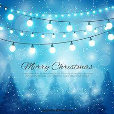 Feliz Natal e fundo das luzes Vetor grátis
