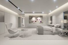 Tour an under-construction estate featuring a rooftop swimming pool Master Bedroom Design, Dream Bedroom, Interior Design Living Room, Master Bathroom, Kitchen Interior, All White Bedroom, Modern Bedroom, Elegant Home Decor, Elegant Homes