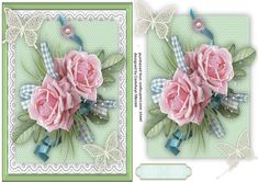 Beautiful A5 With Pink Roses and Lace Butterflys  on Craftsuprint designed by…