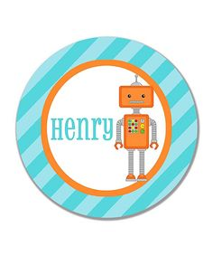 Look what I found on #zulily! Robot Personalized Plate by Print the Party #zulilyfinds