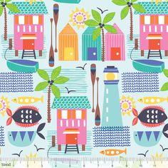 Divertida tela de patchwork con dibujos de verano y casitas ideal para proyectos DIY de verano