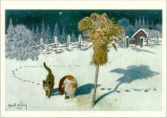 A cat and a tomten, by Harald Wiberg. Forest Creatures, Fantasy Creatures, Astrid Lingren, Fairy Tale Images, Legends And Myths, All Nature, Christmas Cats, Christmas Windows, Faeries