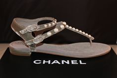 Get the must-have sandals of this season! These Chanel Gray 2016 Cc Logo Velvet Pearl Pearls Flats Thong Flat Sandals Size US Regular (M, B) are a top 10 member favorite on Tradesy. Save on yours before they're sold out! Chanel Sandals, Grey Sandals, Leather Flats, Velvet, Pearls, Logos, Gray, Shoes, Top