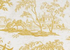 La Chasse Fabric Traditional French Toile of Diane the Huntress in golden yellow printed on off white linen