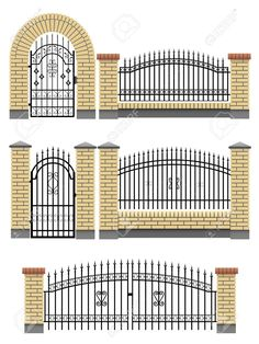 16006796-Vector-gate-wicket-and-fences-with-yellow-brick-columns-and-a-metal-lattice-isolated-on-white--Stock-Vector.jpg (975×1300)