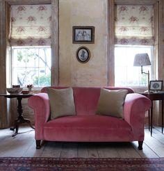 Red velvet sofa with mole velvet cushions and isobella blinds - Kate Forman Red Velvet Sofa, Pink Velvet, Kate Forman, Home And Living, Living Room, Cottage Living, Cosy Home, Pink Sofa, Pink Loveseat