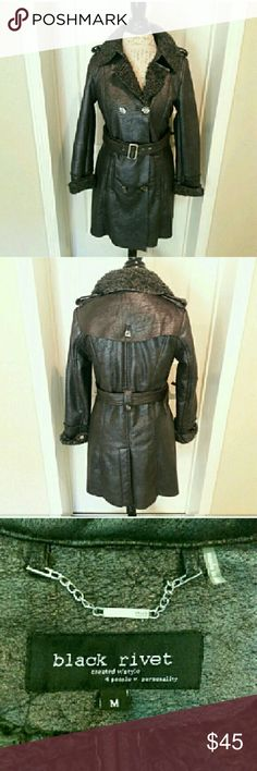 Black Rivet - faux suede pea coat In perfect condition. Faux fur lining and faux suede material. This coat comes from Wilson's leather. Beautiful black double breasted trench coat to wear all winter long. From a smoke and pet free home. I ship fast!  *I take offers on bundles  *No trades  *All offers considered Black Rivet Jackets & Coats Pea Coats