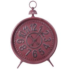 Foreside Red Metal Works Table Clock (155 BRL) ❤ liked on Polyvore featuring home, home decor, clocks, red home decor, red clock, red metal clock, metal home decor and red home accessories
