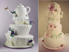 Sandra Monger Cakes have created a beautiful teapot wedding cake design (below left, with Robin Pakes) and to the right, another superb teapot wedding cake vintage style by Katie's Cupcakes.