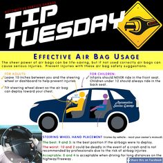 Car Care Tip: If your air bag (or SRS) light stays on, that's an indication of a malfunction in the air bag system. The air bag light should come on when the car is first started, along with other warning lights and turn off within a few seconds. If the light stays on, or comes on while driving, don't ignore it, have it check immediately. Air bags save lives, but if not used correctly air bags can cause serious injuries. ll Auto Repair @ Automotive Service Garage - Sarasota FL