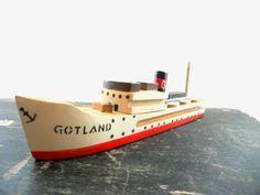 Swedish vintage toy ship Wooden toy ship model Little Wooden Ship Vintage souvenir from Gotland Nautical decor gift. $12.00, via Etsy.