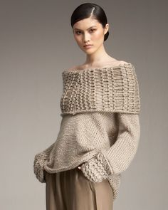 Airspun Off-the-shoulder Sweater  Donna Karen...must try to knit