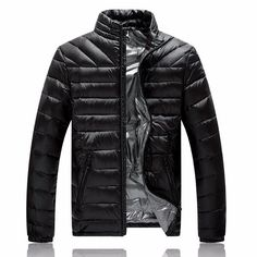 Mens Lightweight Winter Stylish Warm Down Jacket Stand Collar Pure Color Coat - Banggood Mobile