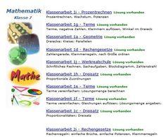 Mathematik Klasse 7 - Klassenarbeiten mit Lösungen - ausdrucken, lösen und Lösungen vergleichen.