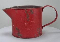 Rustic Antique Style Weathered RED Metal Watering CAN 1 5 Quart Capacity