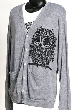 Owl on  Grey American Apparel Cardigan by miasunique on Etsy, $40.00